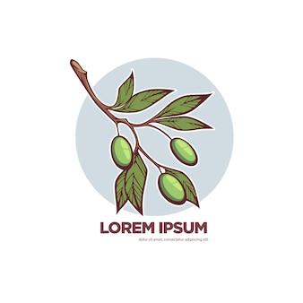 新鮮なオリーブ、オリーブオイルのロゴやラベルのベクトルテンプレート