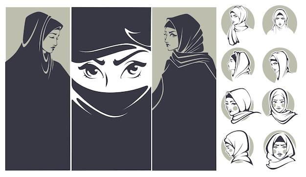 美しいアラビアの女の子コレクションのバナーとポートレート