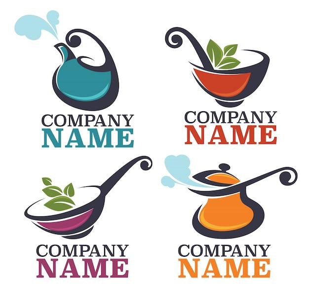 Коллекция кухонного оборудования и пищевых символов и логотипа