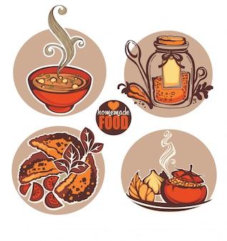 Домашняя еда еда иллюстрация