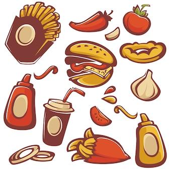 Векторная коллекция объектов быстрого питания и ингредиент