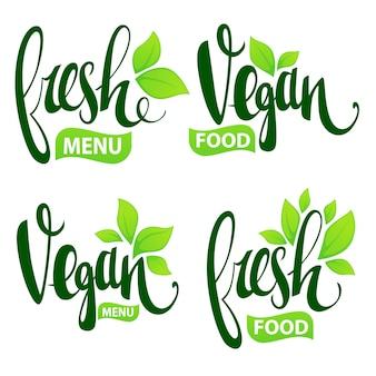 Свежие и веганские надписи для ваших органических продуктов и логотипа меню