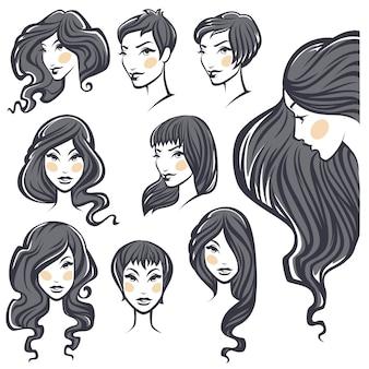 髪型のバリエーションを持つ美容女性の肖像画のベクトルコレクション
