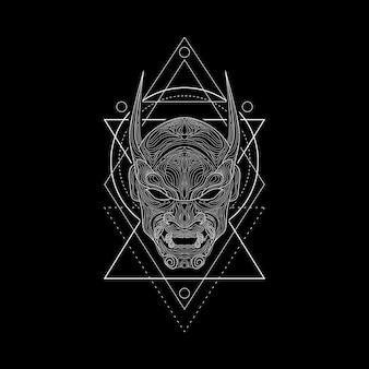 デーモンマスクの幾何学的スタイル