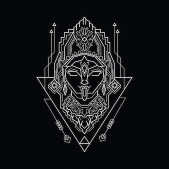 神聖幾何学スタイルのラインアートカーリー