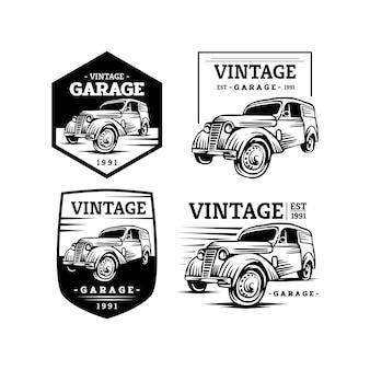 ビンテージ車のガレージのロゴ