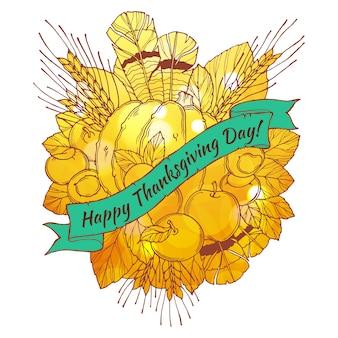 Поздравительная открытка с днем благодарения с ручками, перьями, каштанами, овощами и фруктами в мультяшном стиле