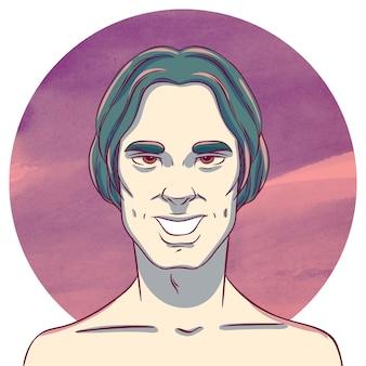 Человек с длинными темными волосами на фоне акварельных кругов