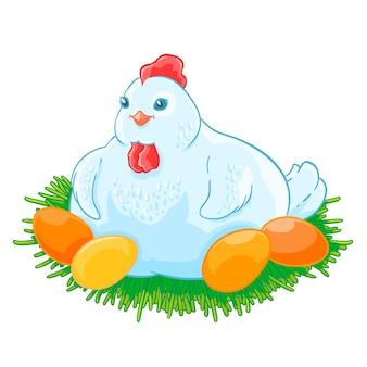 母鶏は卵を巣の中で孵化している。