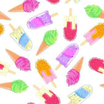 カラフルなアイスクリームコーンとポーシーなシームレスなパターン。夏のテクスチャ