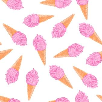 クールな夏のシームレスなパターンスケッチのベリーアイスクリームコーン。