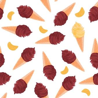 チョコレートとバニラアイスクリームコーンとタンジェリンスライスのスイートシームレスパターン
