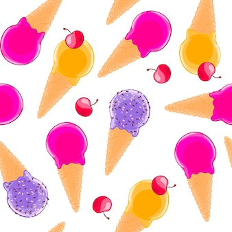 Сладкий бесшовный узор с многоцветными фруктовыми мороженными конусами и вишнями.