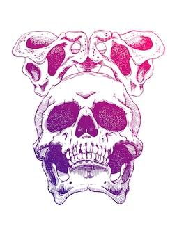 ひどい恐ろしい頭蓋骨。不気味なイラストレーション