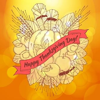 Открытка с благодарственным днем с пиками ручной работы, перьями, каштанами, овощами и фруктами в мультяшном стиле на фоне боке