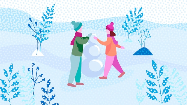 男の子と女の子が公園で雪だるまを作る
