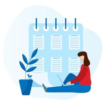 ノートパソコンで座っている働く女性。ソーシャルネットワークの概念フリーランスの遠隔作業。分離フラットベクトルの概念図