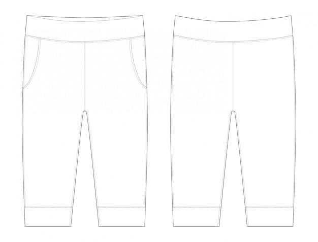 Брюки плоской иллюстрации. брюки эскиз детской одежды.