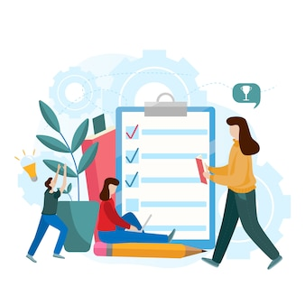 オンライン試験、アンケートフォーム、オンライン教育、調査、インターネットクイズの平らなベクトルの概念
