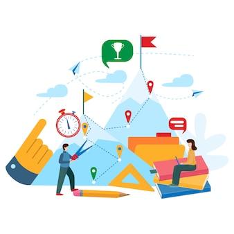 チームワークの概念、計画、問題解決会社。ベクトルビジネス概念図。フラットミニマルデザイン。