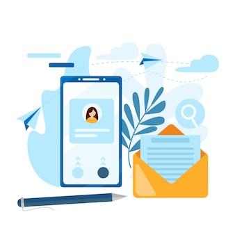 メールを送る。電話、アドレス帳、メモ帳の概念。お問い合わせアイコン