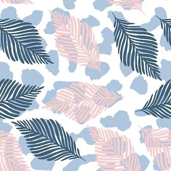 抽象的なヒョウの皮と熱帯の葉のシームレスパターンテクスチャを繰り返します。植物のヤシの葉の熱帯の壁紙。