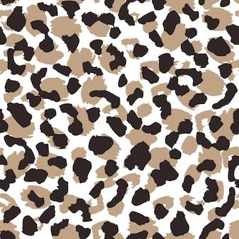 抽象的なヒョウ肌のシームレスなパターン。動物の毛皮の壁紙。野生のアフリカの猫はイラストを繰り返します。