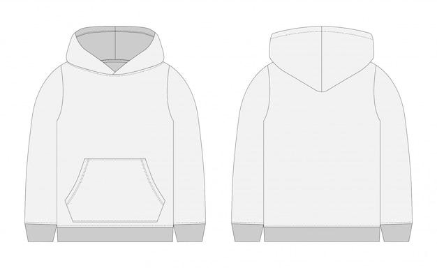 メンズグレーパーカーのテクニカルスケッチ。正面および背面図テクニカルドローイング子供服。スポーツウェア、カジュアルアーバンスタイル