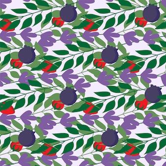野生の果実とハーブの葉のシームレスなパターン、ファッション、インテリア、ラッピング