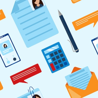 メモ帳、電卓、定規、虫眼鏡、ボールペン、グラフ、グラフとフラットレイアウトビジネスシームレスパターン
