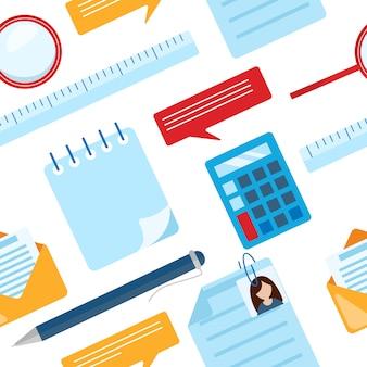 メモ帳、電卓、定規、虫眼鏡、ボールペン、グラフ、グラフとビジネスのシームレスパターン。