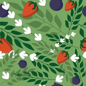 草の葉と緑色の背景で野生の果実のシームレスパターン