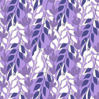 抽象的な草の紫色の背景にシームレスパターンを葉します。