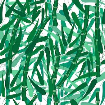 Бамбуковый лес бесшовных текстур на белом фоне с листьями ветвей ствола бамбука