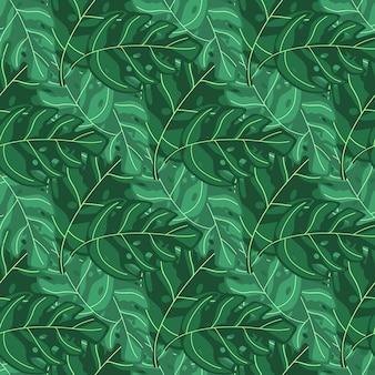 エキゾチックな植物のシンプルな熱帯モンステラの葉のシームレスな繰り返しパターン