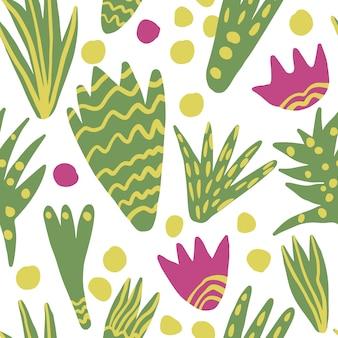 トレンディなフリーハンド抽象はシームレスパターンを残します。手は花の壁紙を描きます。