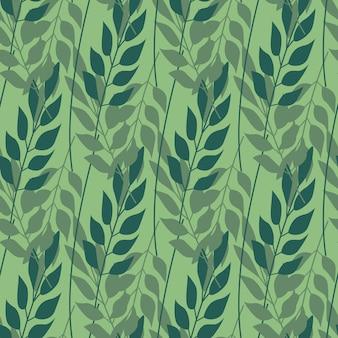 ハーブの葉の緑の背景にシームレスパターン