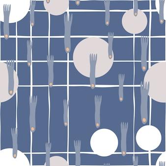 フォークとプレートの手が最小限のスカンジナビアスタイルの青い背景にシームレスパターンを描く