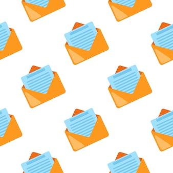 白のメールシンボルシームレスパターン