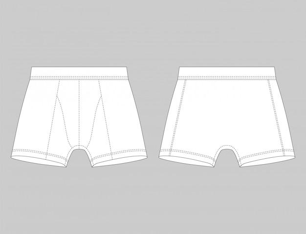 グレーに分離された白いボクサーパンツ