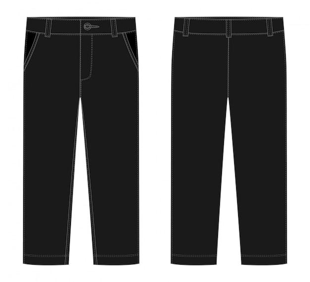 男性の黒ズボンのテンプレート