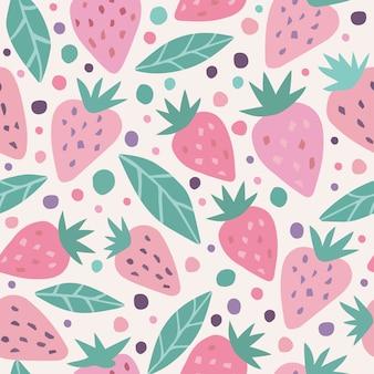 かわいいイチゴと水玉のシームレスパターン