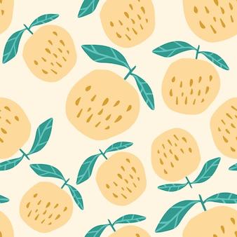 黄色いりんごのシームレスなパターン。かわいい甘いリンゴを手に描かれたスタイル。