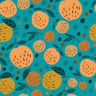 Симпатичные бесшовные модели с яблоками и листьями