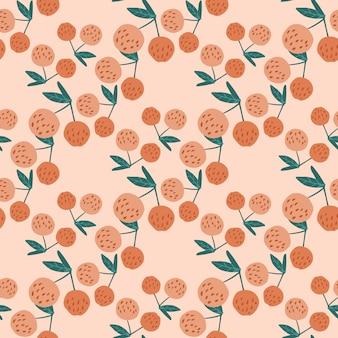 Ручной обращается вишни ягоды и листья бесшовные модели