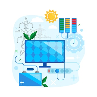 太陽エネルギーの概念設計代替再生可能エネルギーを安全に使用します。太陽電池パネルのグリーンエネルギーフラットのベクトル図