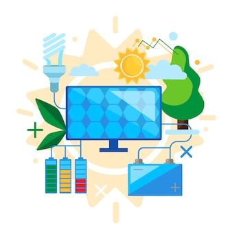 安全を考え、代替再生可能エネルギーを使用する。太陽エネルギーの概念設計ソーラーパネルグリーンエネルギー
