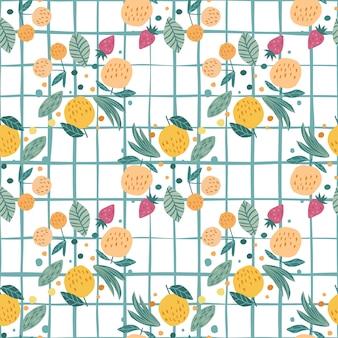 Фрукты бесшовные модели. веселые сладкие садовые фрукты. ягоды вишни, яблоки, клубника и листья