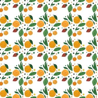 幾何学的な果物のシームレスパターン。面白い庭の果物。桜の果実、リンゴ、イチゴ、葉は手描きの壁紙です。
