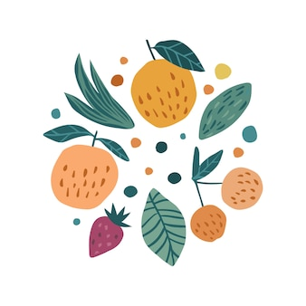 手描きのフルーツプリント